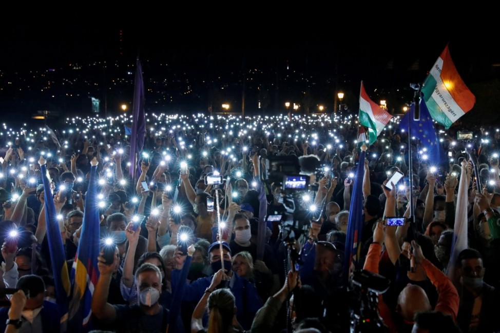 People take part in a protest for media freedom in Budapest