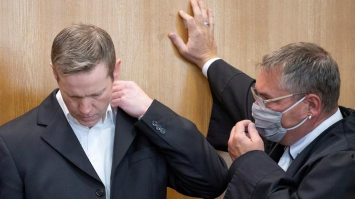 Stephan Ernst's trial at the Oberlandesgericht Frankfurt courthouse, in Frankfurt