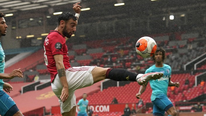 Bruno Fernandes of Manchester United, ManU during the Premier League match at Old Trafford, Manchester. Picture date: 4t; Bruno Fernandes Manchester United