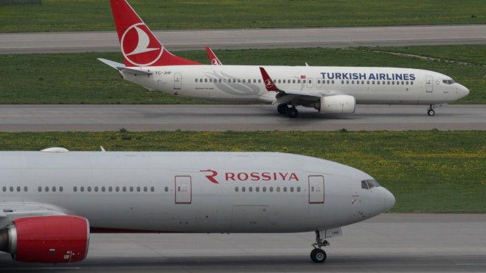 Civil jet airliners of Rossiya Airlines and Turkish Airlines at Vnukovo International Airport Mosco