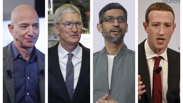 Amazon CEO Jeff Bezos, Apple CEO Tim Cook, Google CEO Sundar Pichai and Facebook CEO Mark Zuckerberg