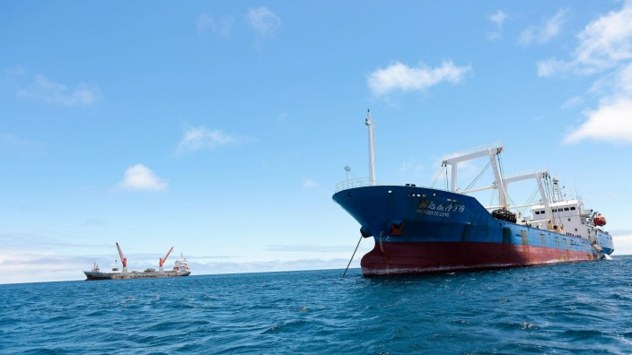 View of the Chinese ship detained and guarded on the island of San Cristobal Galapagos Islands Ecu