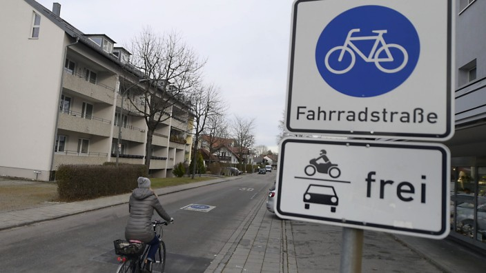 Fahrradstraße in Unterhaching, 2020