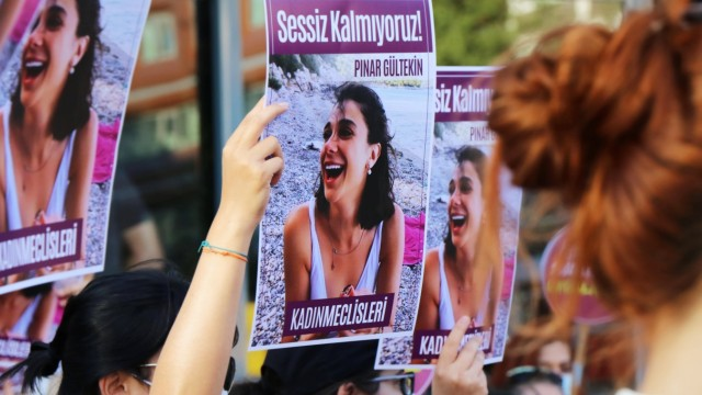 Women killings and annulment of Istanbul Convention protested in Turkey Women wearing a face masks while holds placards