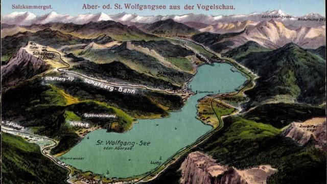 Landkarten Salzburg Österreich St Wolfgangsee Abersee Schafbergbahn AUFNAHMEDATUM GESCHÄTZT