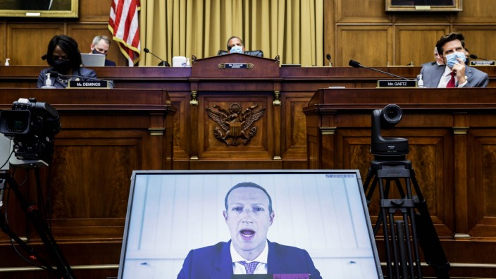 July 29, 2020, Washington, District of Columbia, USA: Facebook CEO MARK ZUCKERBERG speaks via video conference during an