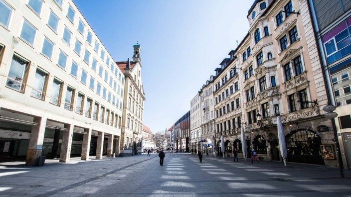 March 19, 2020, Munich, Bavaria, Germany: Images of empty streets in the city center of Munich, Germany. Ordinarily, the
