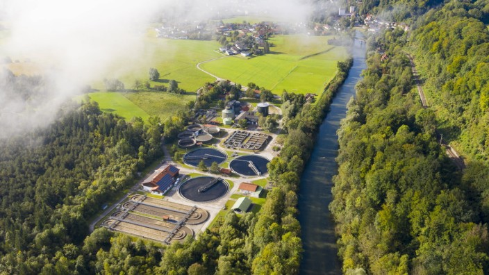 Germany, Bavaria, Wolfratshausen, Drone view of countryside sewage treatment plant LHF00795