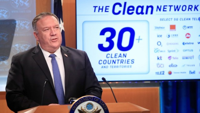 U.S. Secretary of State Pompeo attends a news conference in Washington