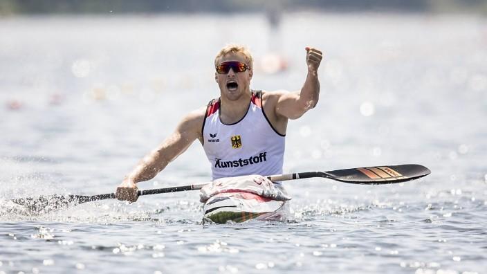 Jubel Sieger Max RENDSCHMIDT GER 1 Platz Finale 1000m K1 der Maenner am 26 05 2018 Kanu ICF Welt