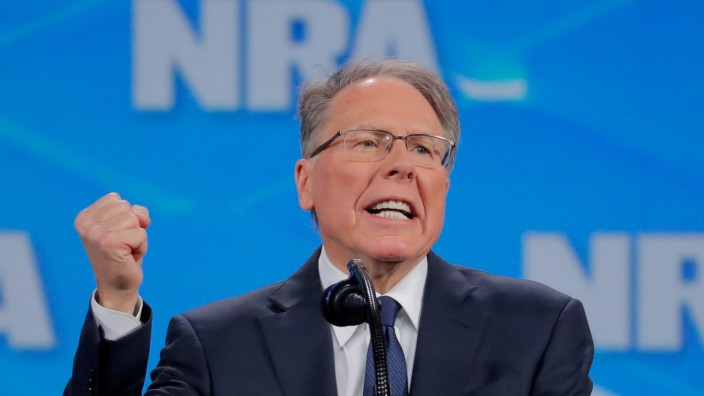 FILE PHOTO: Wayne LaPierre speaks at the NRA annual meeting in Indianapolis