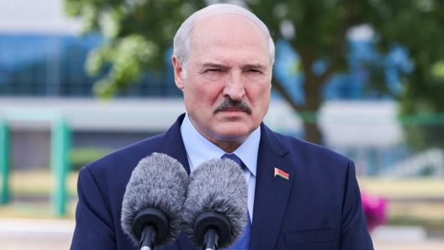 MINSK, BELARUS - AUGUST 9, 2020: Belarus Incumbent President Alexander Lukashenko talks to the media after voting in th