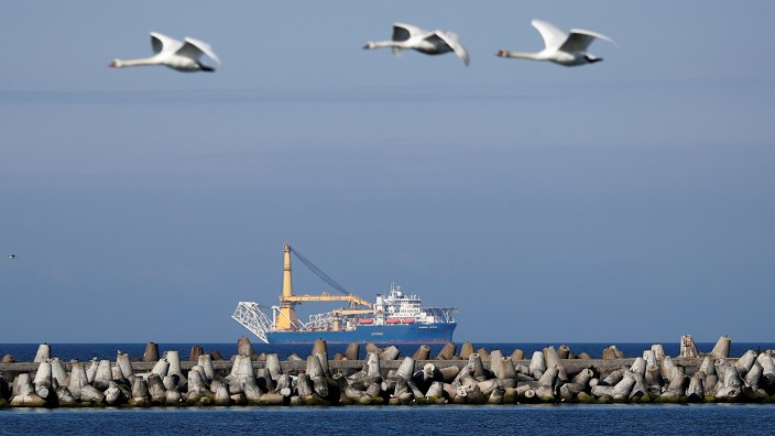 FILE PHOTO: Pipe-laying vessel Akademik Cherskiy is seen in a bay near the Baltic Sea port of Baltiysk