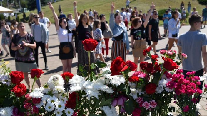 Proteste und Trauer in Minsk