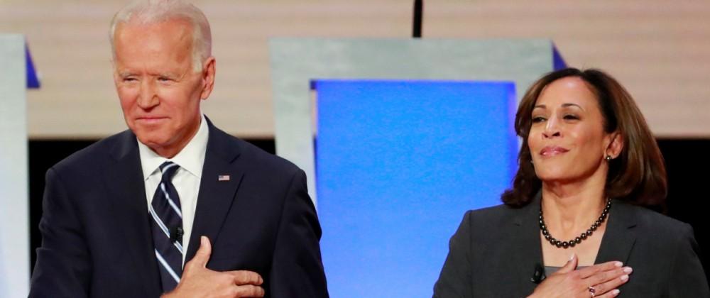 FILE PHOTO: Former Vice President  Biden and Senator Harris take the stage in Detroit