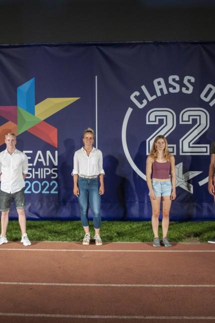 Muenchen, Pressevorstellung der Sportler fuer die European Championsships Munich 2022 im Muenchner Olympiastadion, v. l.