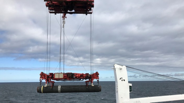 FILE PHOTO: Allseas' deep sea pipe laying ship Solitaire lays a pipe for Nord Stream 2 pipeline in the Baltic Sea