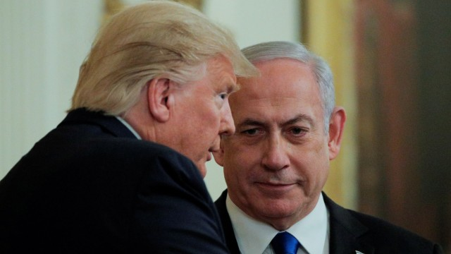FILE PHOTO: U.S. President Trump and Israel's Prime Minister Netanyahu discuss Middle East peace proposal at White House in Washington
