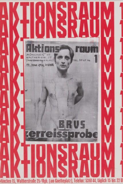 Peter Nemetschek; Plakat zur Aktion 'Zerreissprobe' von Günter Brus, 1970. Öl, Holz auf Holz, genagelt; © Peter Nemetschek