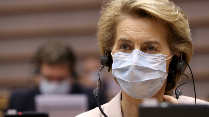 FILE PHOTO: President of the European Commission Ursula von der Leyen attends a plenary session at the European Parliament in Brussels