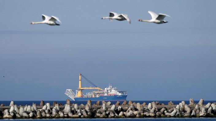 FILE PHOTO: Pipe-laying vessel Akademik Cherskiy is seen in a bay near the Baltic Sea port of Baltiysk