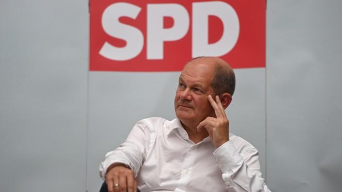 SPD-Kanzlerkandidatur: Olaf Scholz am 13. August bei einer Veranstaltung in Ahlen.