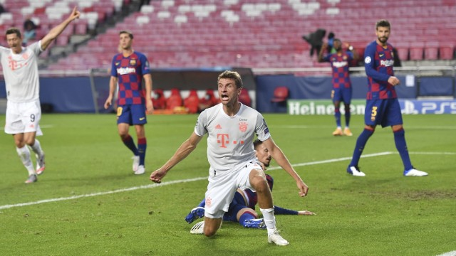 Fussball Champions League/ Viertelfinale/ FC Barcelona, Barca - FC Bayern Muenchen JUbel Thomas MUELLER (Müller, M) nac; Thomas Müller
