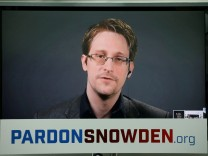 FILE PHOTO Edward Snowden speaks via video link during a news conference in New York