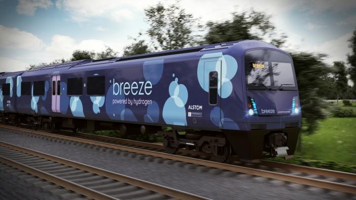 "Pressefoto Alstom Wasserstoff-Zug ""Breeze"""