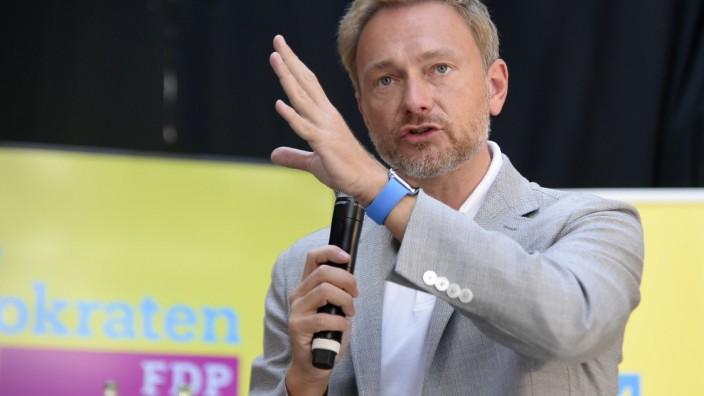 Politiker Christian Lindner,Bundesvorsitzender der Freien Demokratischen Partei ( FDP ),zu Besuch in Mülheim-Ruhr,Stadt