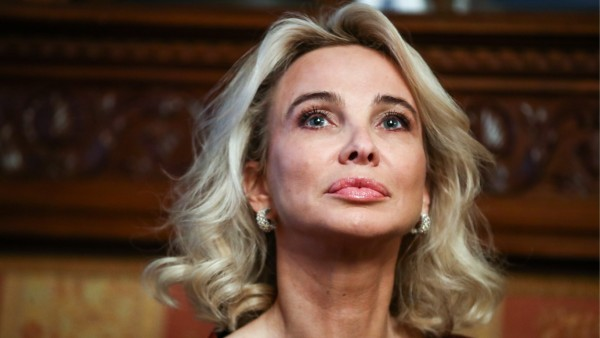 MOSCOW, RUSSIA - FEBRUARY 1, 2019: German princess Corinna zu Sayn-Wittgenstein ahead of a ceremony held at the Italian