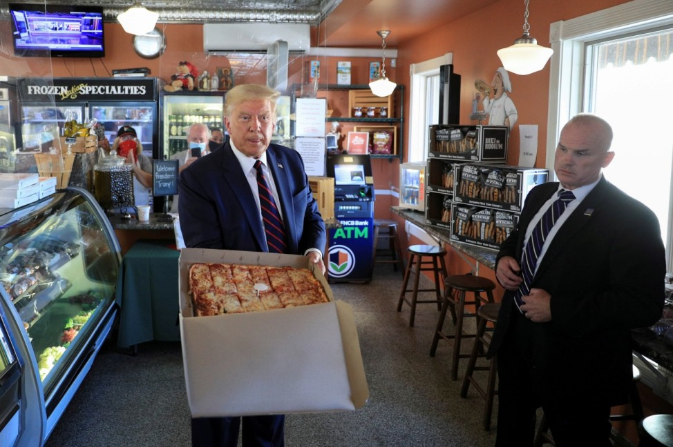 U.S. President Trump gets take out pizza at restaurant while campaigning for re-election in Old Forge, Pennsylvania