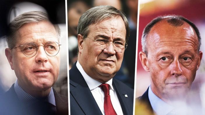 CDU: Drei Männer, ein Job: Norbert Röttgen, Armin Laschet und Friedrich Merz.