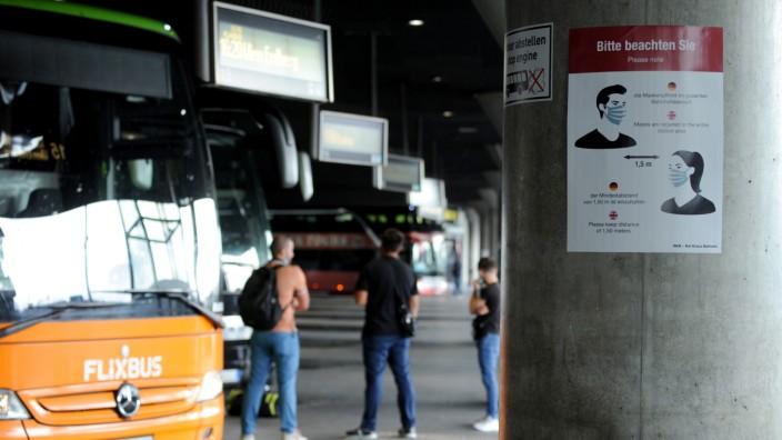 Zentraler Omnibusbahnhof (ZOB) in München zur Zeit der Corona-Krise, 2020
