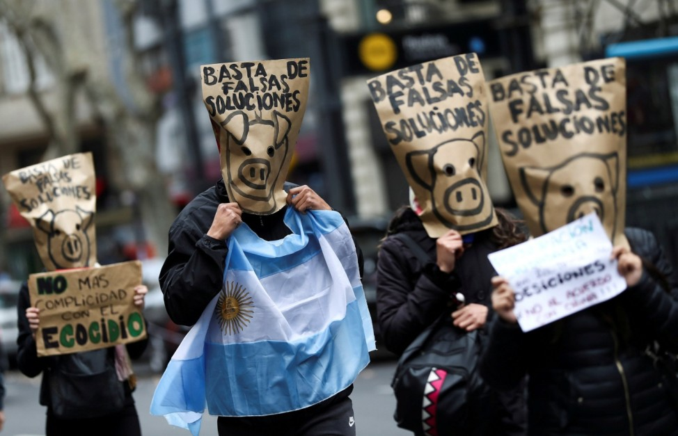 Protest against Argentine pork production for export to China, in Buenos Aires, Argentina