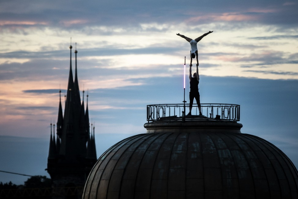 BESTPIX - Artists Perform 'The Shepherdess and the Chimney Sweep' By Hans Christian Andersen On Lucerna Rooftop