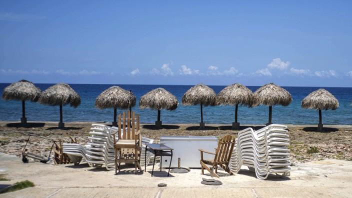 Coronavirus in Europa und weltweit: Trister Anblick: Strand in Havanna, Cuba