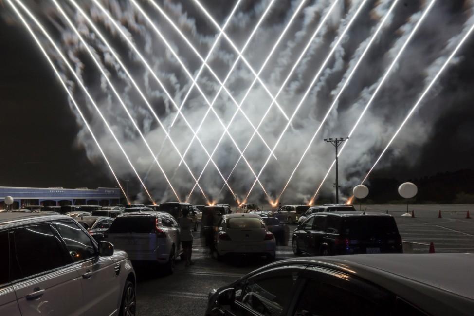 People Enjoy Drive-in Fireworks x Movie In Japan