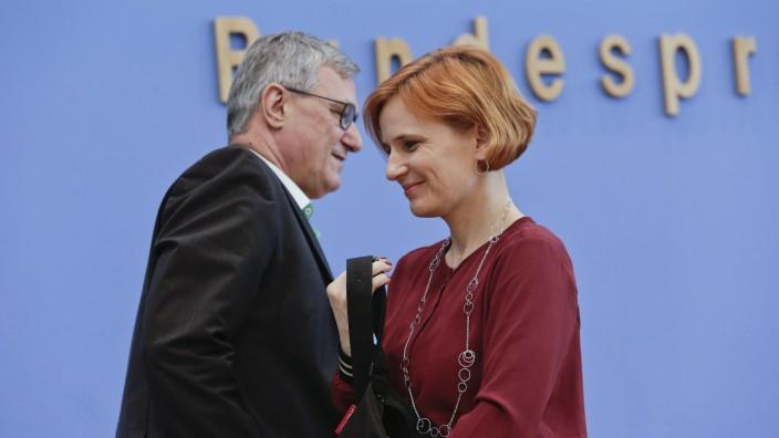 Die Linke: Die Parteivorsitzenden Bernd Riexinger und Katja Kipping 2020 in Berlin