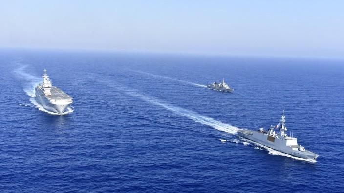 Erdgas-Konflikt mit der Türkei: Griechische und französische Kriegsschiffe im Mittelmeer