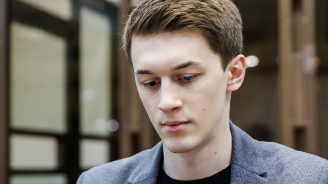 MOSCOW, RUSSIA - FEBRUARY 13, 2020: Higher School of Economics student and video blogger Yegor Zhukov sentenced to thre