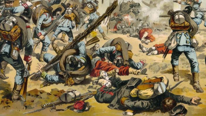 Der Kampf um Bazeilles am 1. September 1870, ein Gefecht der Schlacht von Sedan, historische Szene aus dem Deutsch-Fran