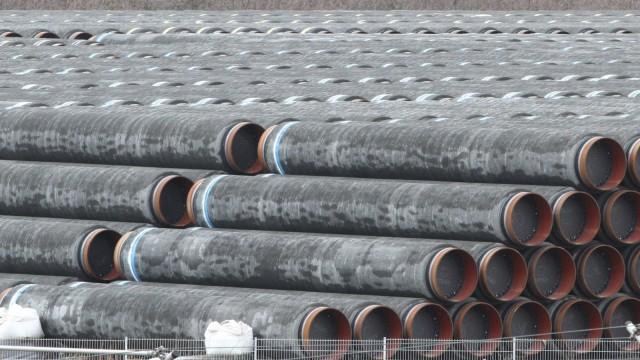 Nord Stream 2: Rohre für die Pipeline lagern in Sassnitz auf Rügen
