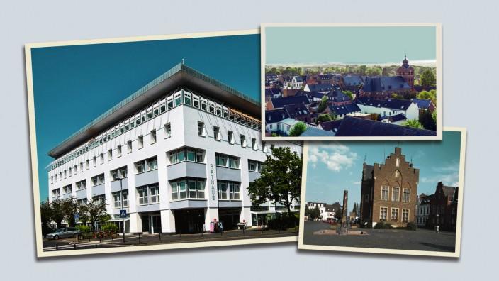 Rathäuser in Deutschland: Das historische Rathaus von Erftstadt (rechts) war eine Trutzburg der Männer, die hier lange die Geschicke der Stadt südwestlich von Köln lenkten. Im neuen Rathaus (oben) wird nun bald eine Frau das Sagen haben.