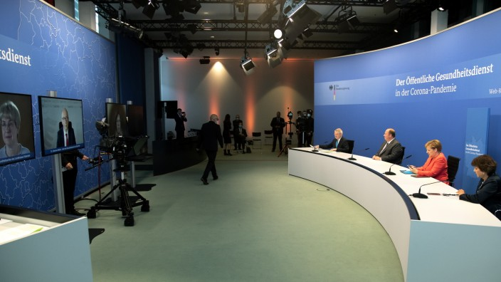 Merkel Participates In Public Health Virtual Conference