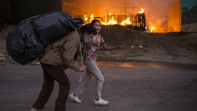 Brand in Flüchtlingslager Moria auf Lesbos