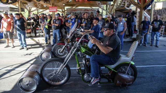 Bikers participate in barrel races at the Broken Spoke Saloon during the 80th annual Sturgis Motorcycle Rally on Friday, Aug. 14, 2020, in Sturgis, S.D.