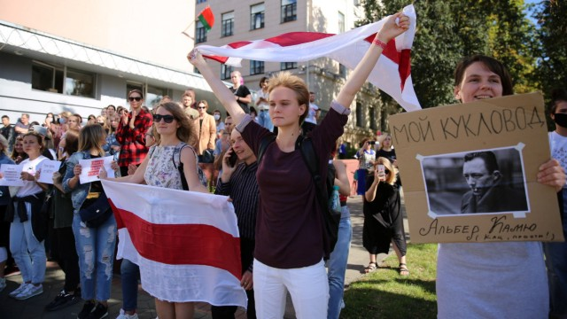 Students of Minsk State Linguistic University attend a rally in support of their detained fellows in Minsk