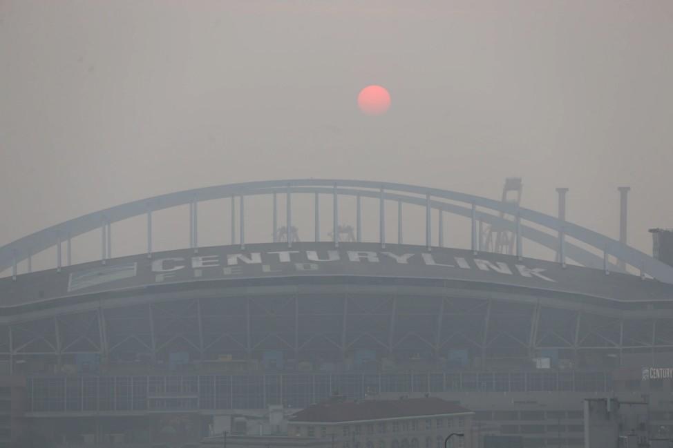 September 11, 2020, Seattle, Washington, United States: The Seattle skyline is bathed in smoke and haze on September 11