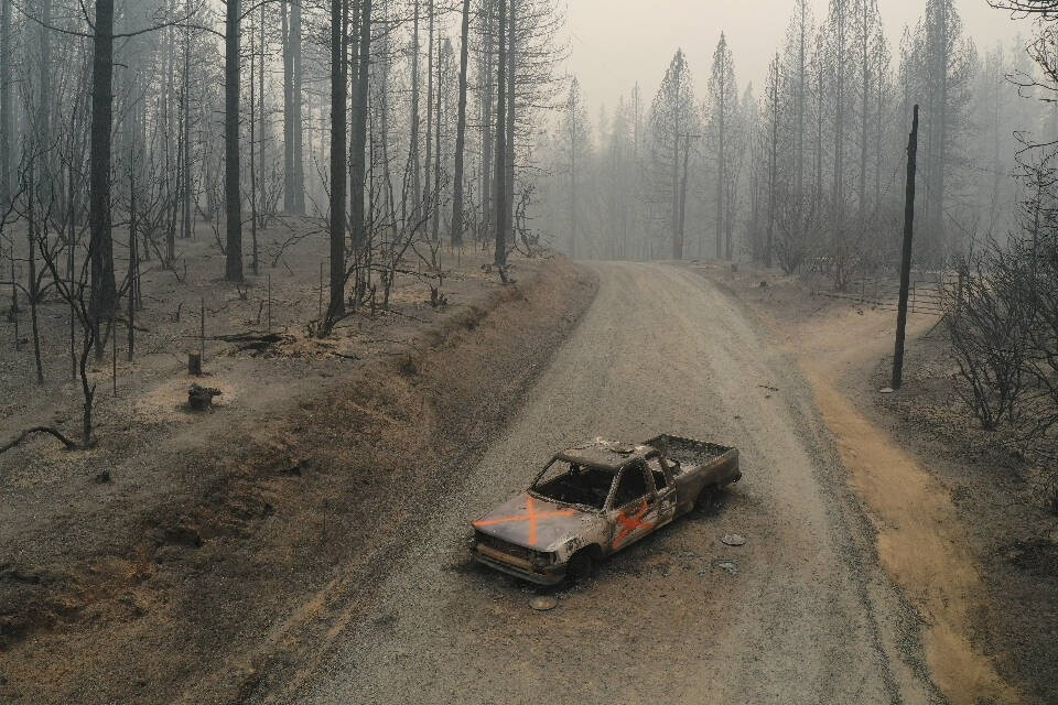 September 10, 2020, Berry Creek, California, USA: A burned out truck sits on Graystone Lane after the Bear Fire near Lak